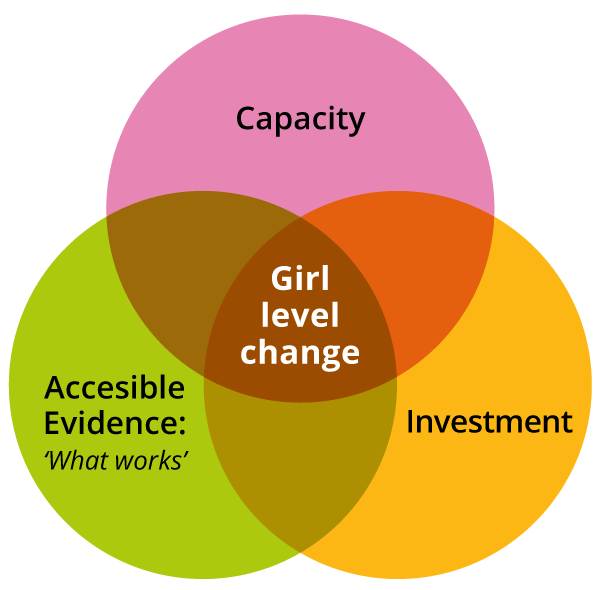Capacity + Accessible Evidence (what works) + Investment = Girl level change